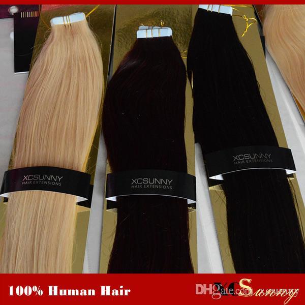 """XCSUNNY Tape In Haarverlängerungen Remy 40 Stück Skin Weft Haarverlängerungen 18 """"-24"""" # 1B 100g / pack Peruanisches Remy Tape In Haarverlängerungen"""