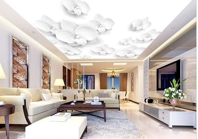 Wall paper White flowers 3D Ceiling wallpaper mural wall stickers wallpaper papel de parede wallpapers20154020