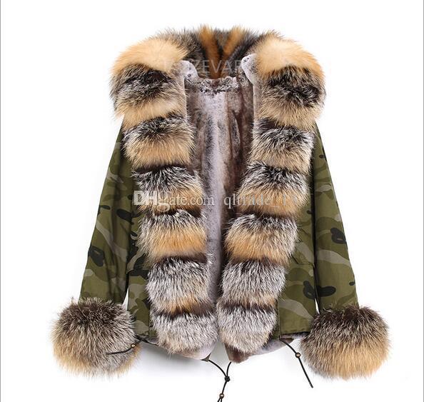 JAZZAVER marca pele Cast marrom guarnição forro de pele de raposa de prata camuflagem shell mini parka com guarnição da pele Placket fox com capuz