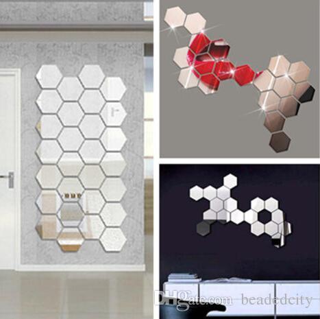 Reflective Mirror Stickers Self-adhesive Wall Sticker Bedroom Bathroom New UK