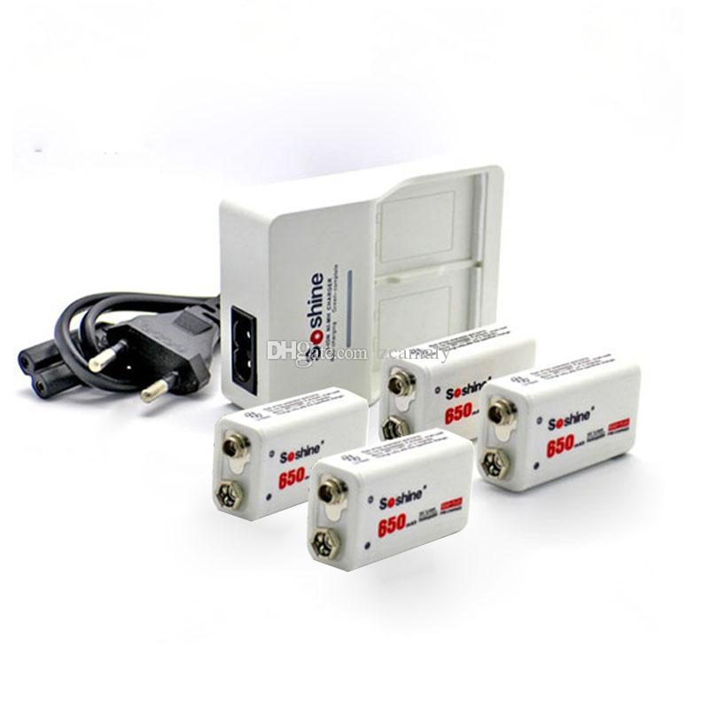 Promotie 1 stuk Soshine 9V 6F22 Intelligent Charger (EU / US Plug) + 2 stks Soshine 9V 650mAh polymeer oplaadbare Li-ion batterij