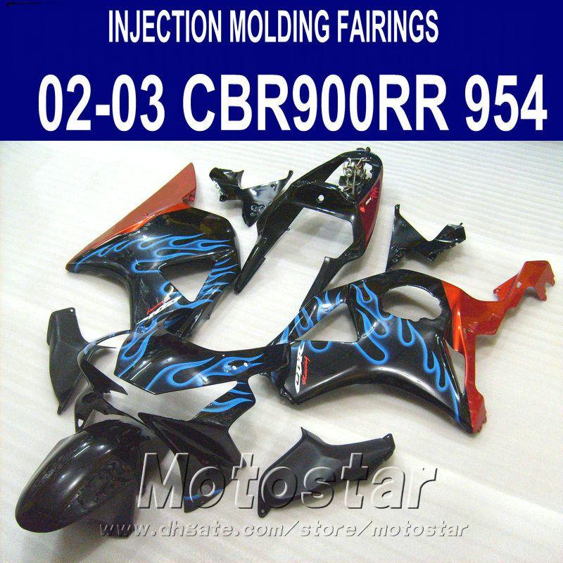 Moldeo por inyección Kit de carenado de alta calidad para Honda cbr900rr carenados 954 2002 2003 CBR900 RR llamas azules black bodykits CBR954 02 03 YR6