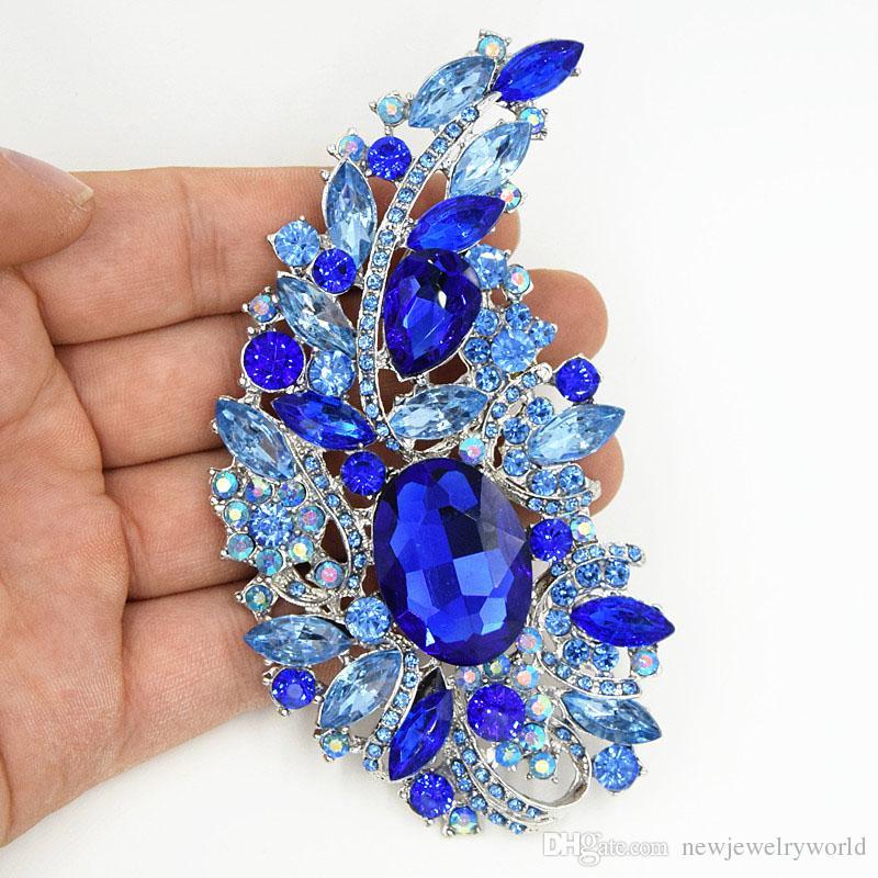 """4.4 """"Big Blue Crystals Broche de Boda de Lujo Ramo Nupcial Gran Broche Elegante Regalo de Las Mujeres Traje Broches Pasadores Para el Partido de la Venta caliente"""
