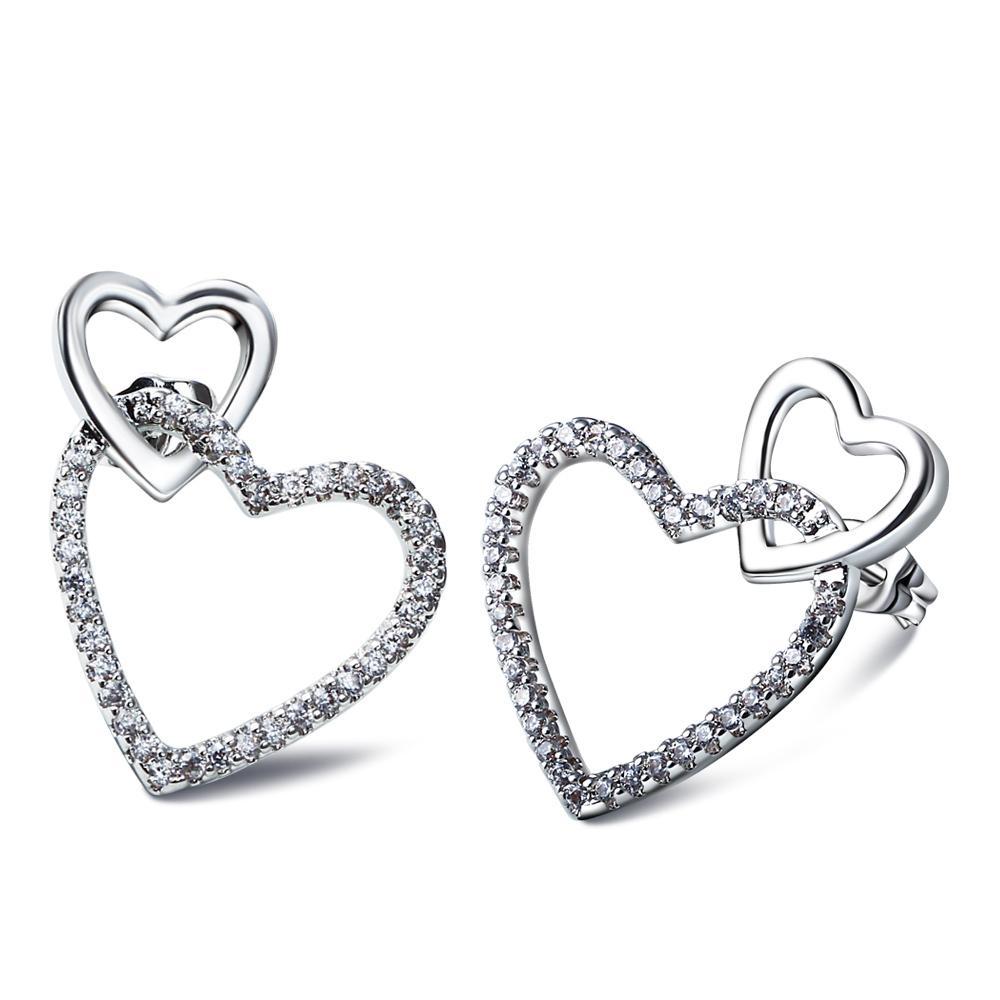 Love Heart Earings Pave met Cubic Zirconia Crystal Earings Dames Oorbellen 2015 Nieuwe Wit Gouden Plaat