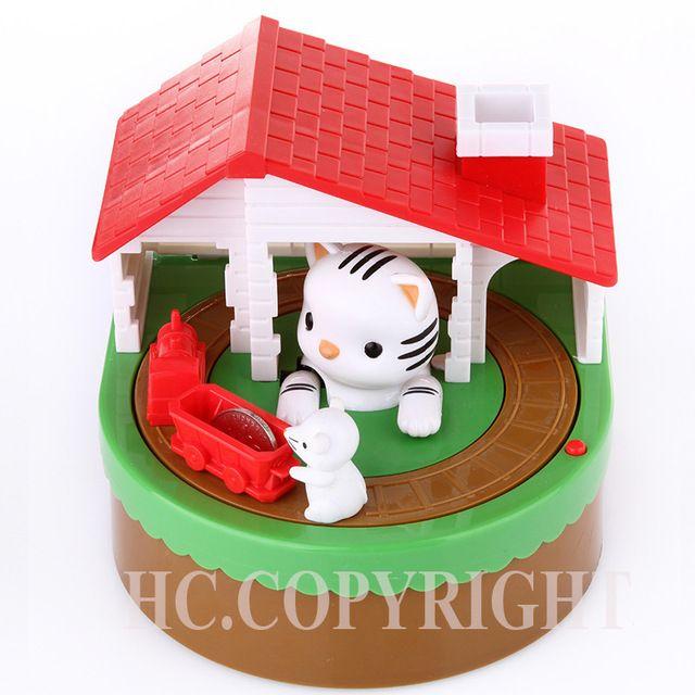 Kat vangen Muis itazura Money Save Box Munt Bank Super Leuke Mannelijke Geld Geautomatiseerde Saving Box met muziek Beste cadeau voor kinderen