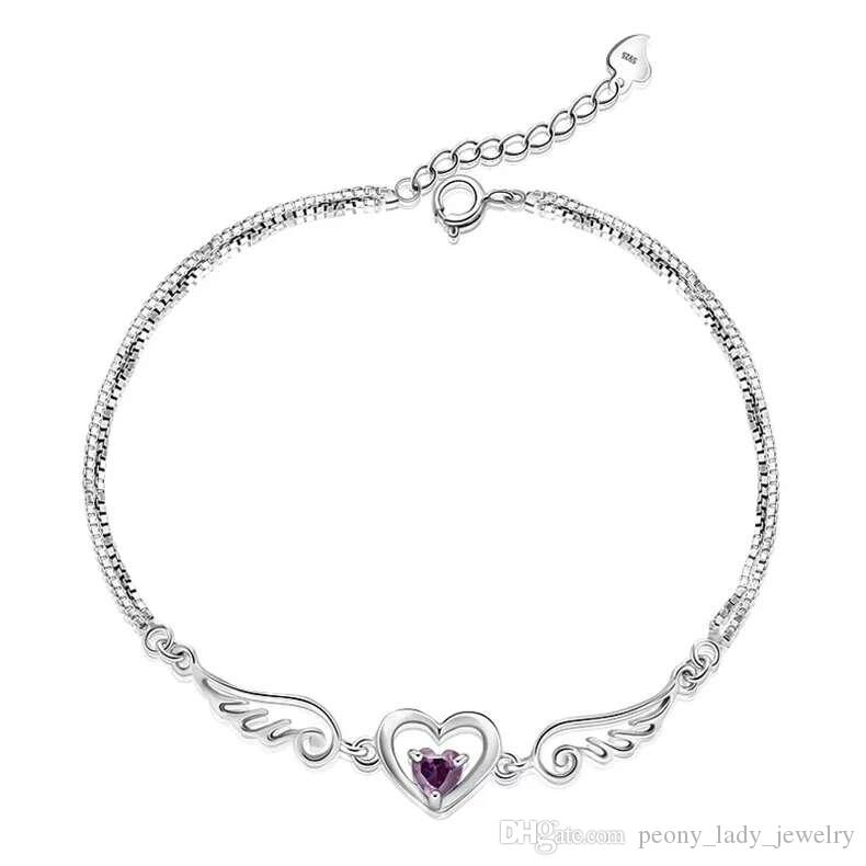 Цепи 925 стерлингового серебра изделия Кристалл ювелирные изделия Шарм браслеты браслеты крыло ангела сердца свадебные Vintage подвески
