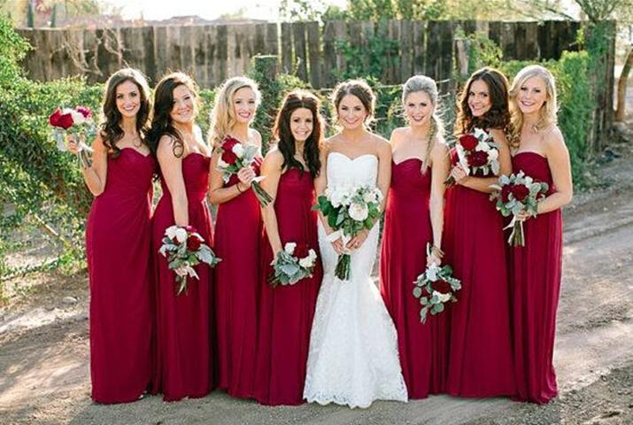 Compre Rojo Oscuro Barato Dama De Honor Vestidos De Novia De La Gasa Larga Dama De Honor Vestido De Fiesta Wear Vestido De Cóctel Adulto Tutu Vestido
