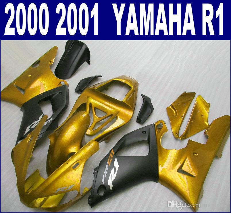 Free customize fairing kit for YAMAHA 2000 2001 YZF R1 bodykits YZF-R1 00 01 matte black golden fairings set BR12 + 7 gifts