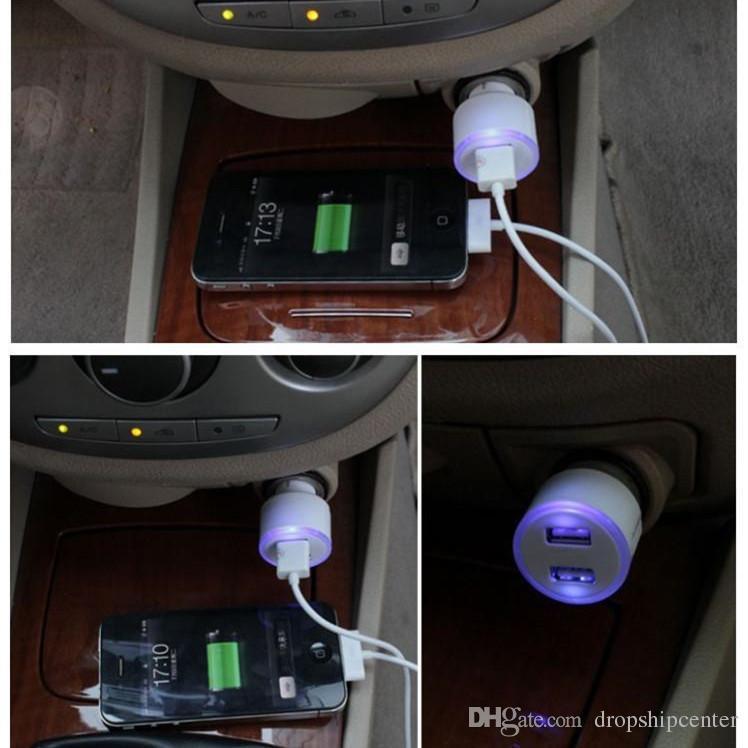 Carregadores de carro carregador de carro mini usb auto eletrônica dupla porta usb adaptador 2.1a bala azul levou anel de luz para o iphone samsung ipad etc