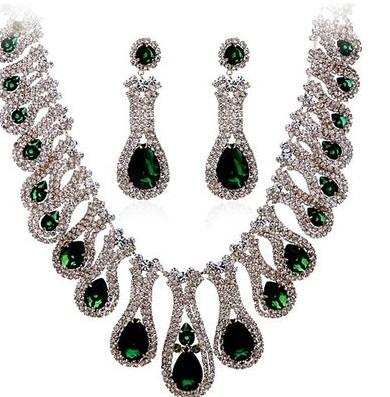 3color diamante waterdrop set sposa orecchini (6,3 * 2 cm) collana da donna (36 + 10 cm) (400 cn)