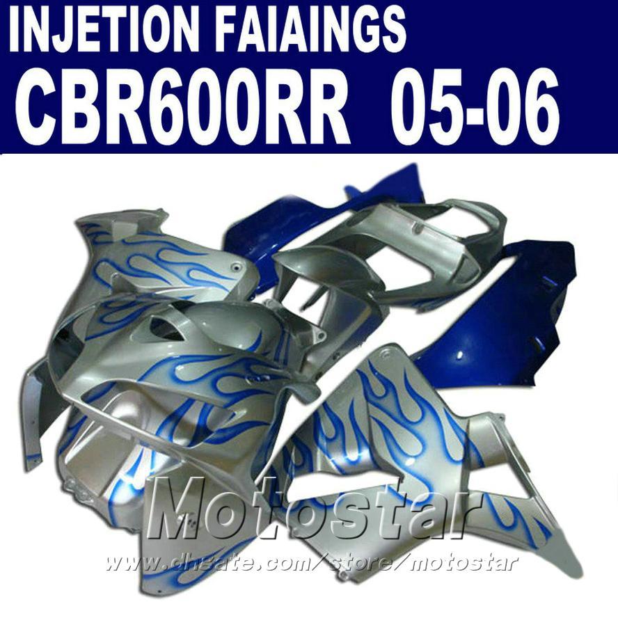 HONDA CBR 600 RR 2005 2006 için enjeksiyon motosiklet kaporta kiti mavi alev cbr600rr 05 06 cbr 600rr kaporta kiti TH6D