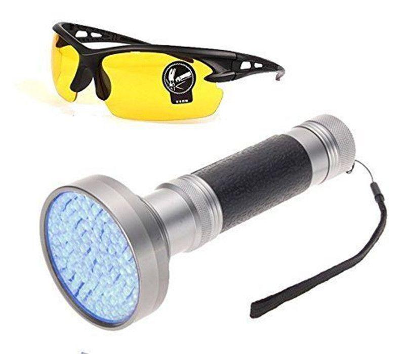 100LED 395-400nm UV-Schwarzlicht-Skorpion Super Bright Detection Taschenlampe Tragbares violettes Licht mit Schutzbrille