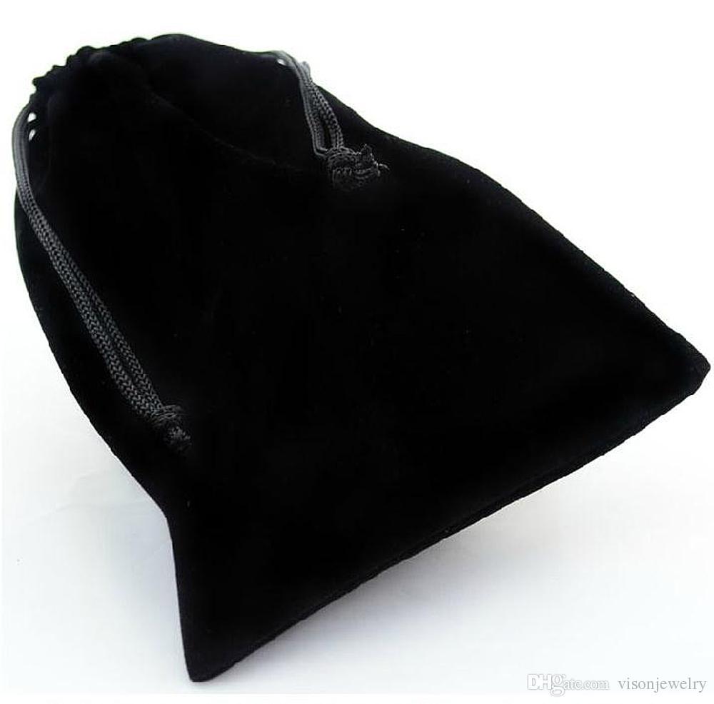 Hot Selling Hurtownia Czarna Sznurek Aksamitna torba doceniowa do biżuterii Dwa rozmiar
