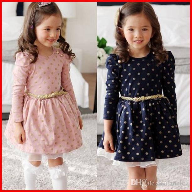 2016 2016 Sweet Girls Cotton Dress Autumn Pleated Long Sleeve Gold ...