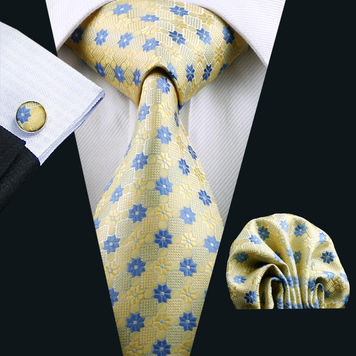 Neck Tie Set Pocket Square Cufflinks Set Yellow Blue Mix Color Mens Jacquard Woven Business Formal Necktie 8.5cm Width Casual Set N-1046