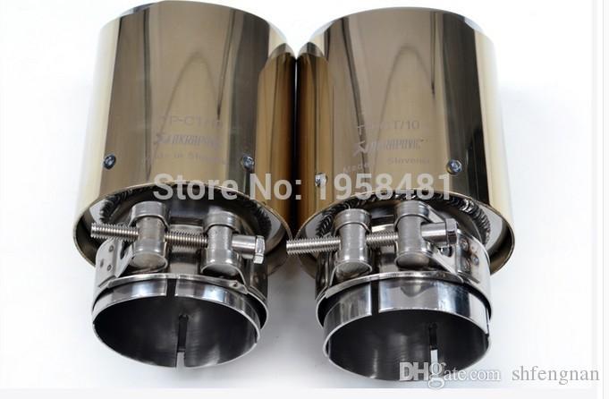 티타늄 시리즈 Inlet63mm-out90mm AKRAPOVIC 탄소 섬유 배기 팁 배기 파이프 머플러 용 Golden