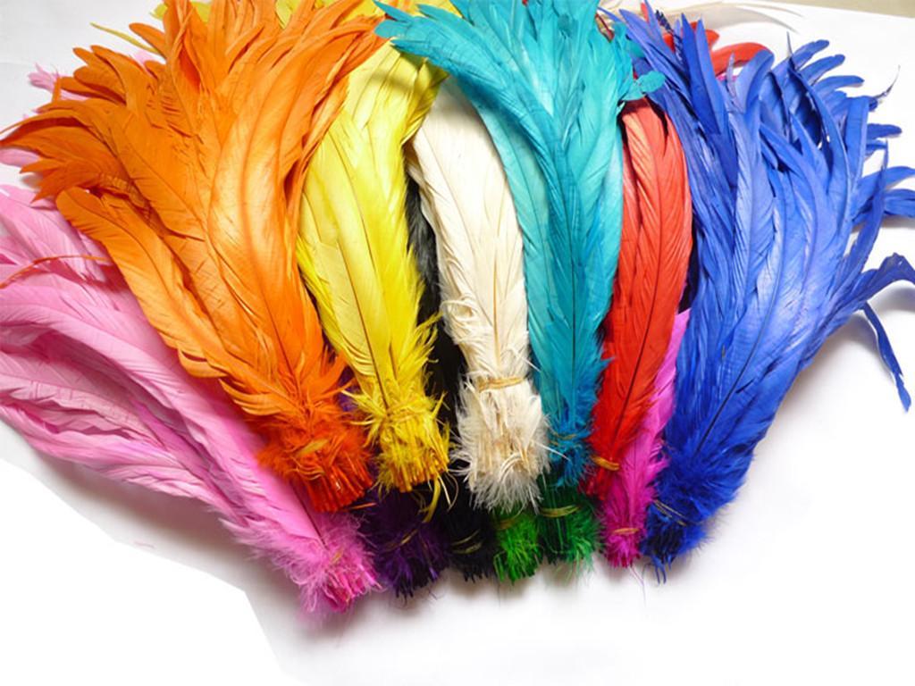 Freies Verschiffen 100pcs / lot multi färbte Farben-Hahn-Schwanz-Federn 12-14inches / 30-35cm für Ihr Handwerk