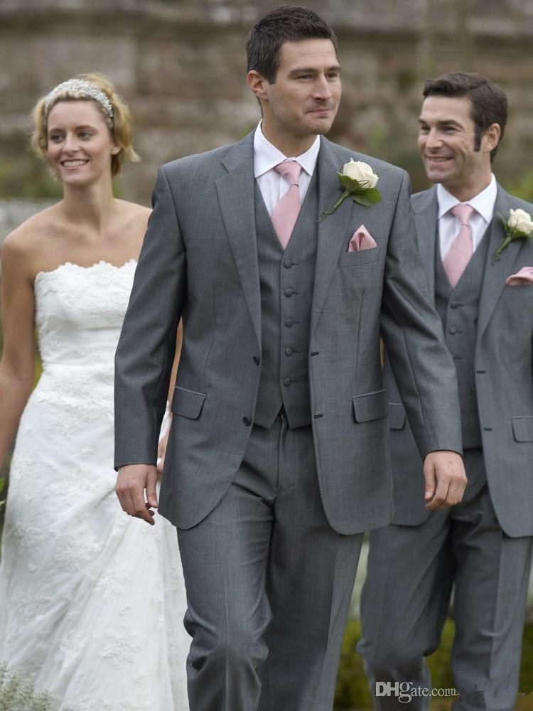 2021 잘 생긴 도매 - 신랑 착용 결혼식 정장 남성 신랑 턱시도 최고의 남자 정장 결혼식 그레이맨 남자 다크 그레이 컬러 (자켓 + 바지 + 조끼