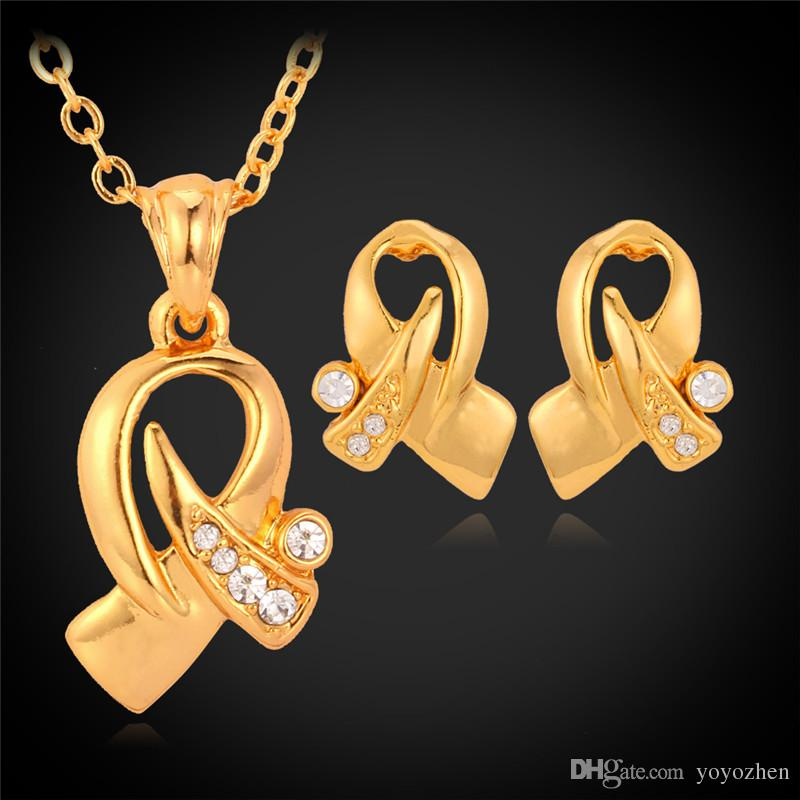 Hot Items 18K Real Gold Plated Choker Necklace Pendant Earrings Jewelry Set Rhinestone Jewellery For Women Wholesale YS3034