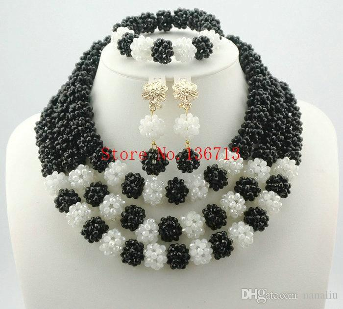 New Fashion Costume Bridal Imitation Pearl Nigerian Wedding African Beads Jewelry Set Crystal Indian Necklace and Earring set BS303-8