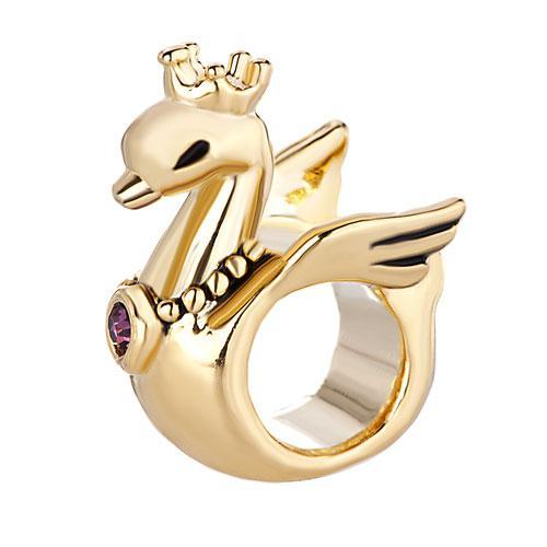 22k plaqué or Swan avec collier pendentif violet chanceux animal Charms perle européenne Fit Pandora Bracelet DIY