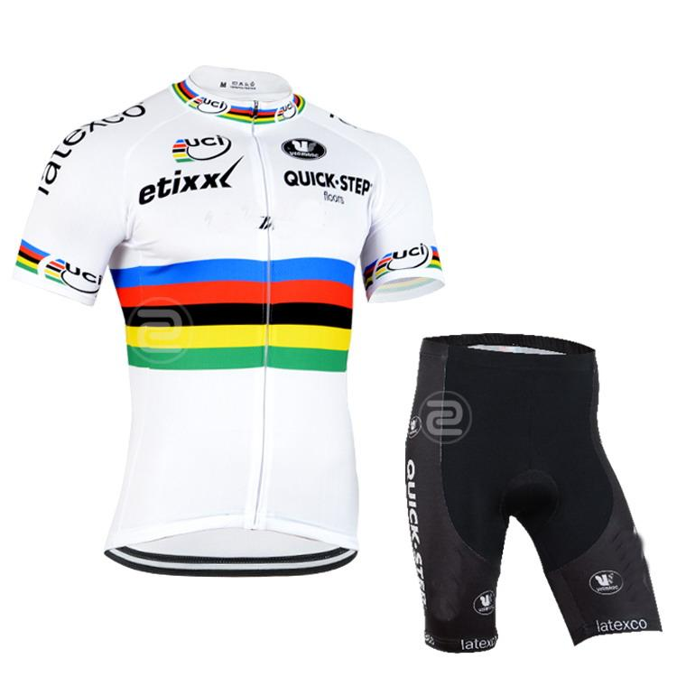 2015 ETIXX QUICK STEP PRO TEAM UCI WHITE Q36 SHIFT SLEVE CYCLING JERSEY SUMMER CYCLING WEAR