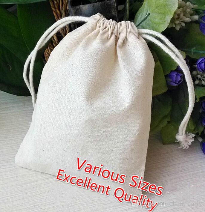 Navio livre 100 pcs de alta qualidade 9 * 12 cm saco de musselina sacos de algodão sacos de jóias de festa de casamento contas de doces saco de presente de natal