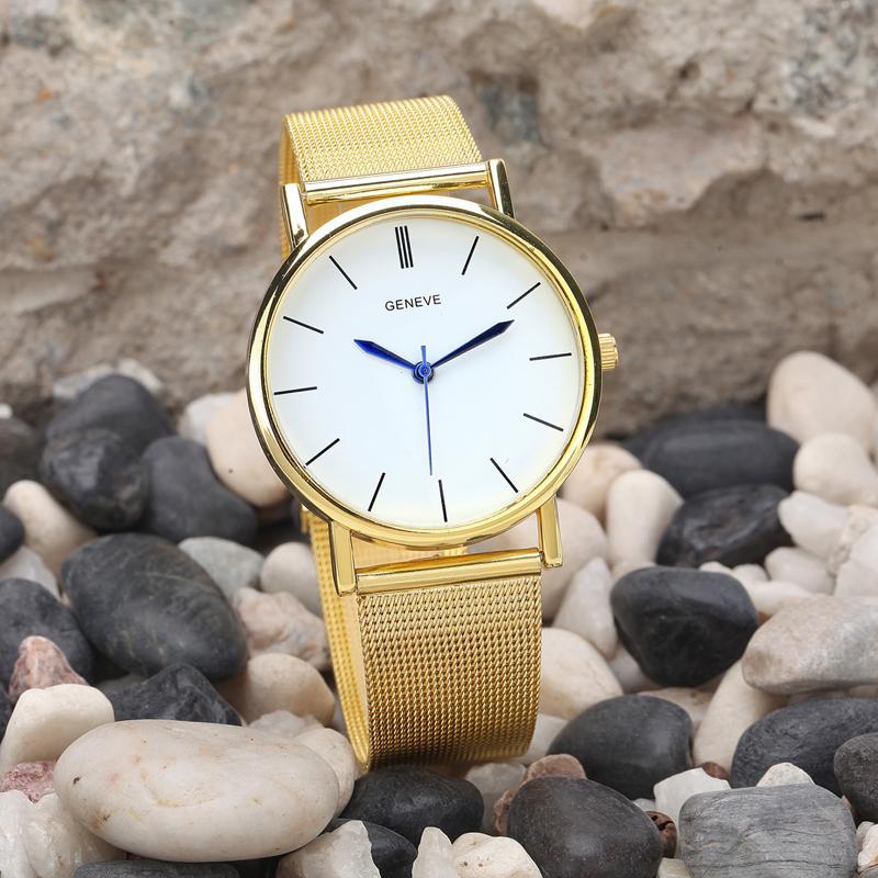 Orologio da polso al quarzo placcato oro casuale della fascia dell'acciaio inossidabile dell'orologio di marca di modo delle donne di modo Feitong ShippingDropshipping libero