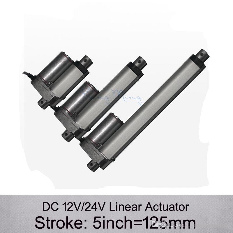 Бесплатная Доставка! Привод DC 12V/24V 5inch/125mm электрический линейный , 1000n/100kgs нагружает приводы скорости 10mm / s линейные без кронштейнов
