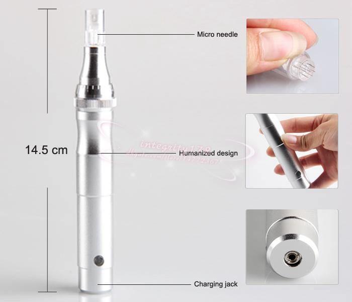 5 pçs / lote Prata New Electric Auto Derma Caneta Terapia Selo Anti-envelhecimento Facial Micro Agulhas caneta elétrica Com embalagem a varejo DHL frete grátis