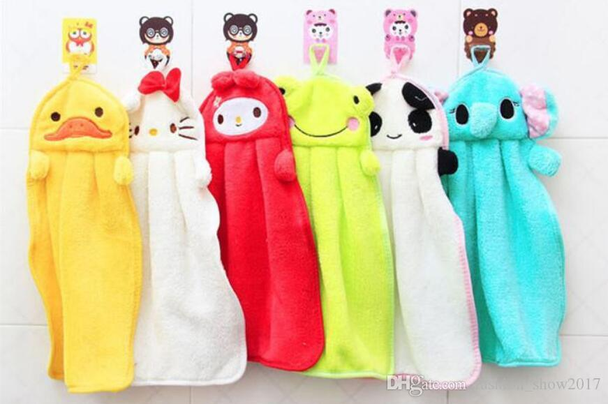 Baby Nursery Hand Towel Baby Bath Towels Toddler Soft Plush Cartoon Animal Wipe Hanging Bathing Towel For Children Bathroom