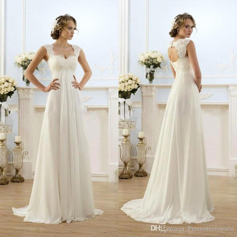 2015 New Sexy Beach Empire Plus Size Maternity Wedding Dresses Cap Sleeve Keyhole Lace Up Backless Chiffon Summer Pregnant Bridal Gowns