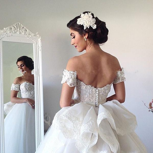 Off Shoulder Wedding Dresses With Peplum Sweetheart Bodice Lace Open ...