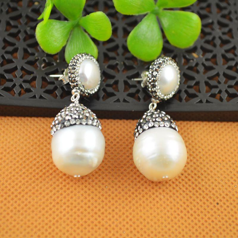 NEW Fashion ~ 4Pair White Color Water Drop Pearl With Rhinestone Crystal Dangle Earrings Jewelry Finding