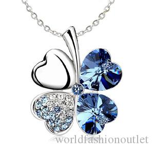 Fashion sterling Necklaces Four Leaf Clover Pendant Necklace Lovers Gift Cheap Crystal Rhinestone Pendant Necklace Four Leaf Clover Pendant