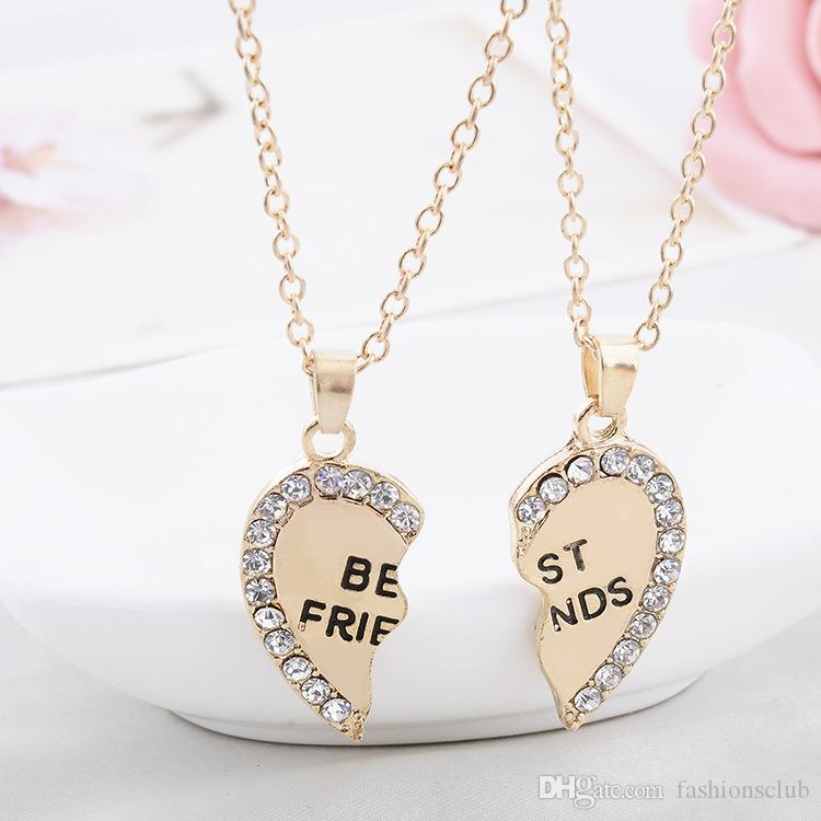 2016 New broken heart necklaces Fashion 2 parts rhinestone ...