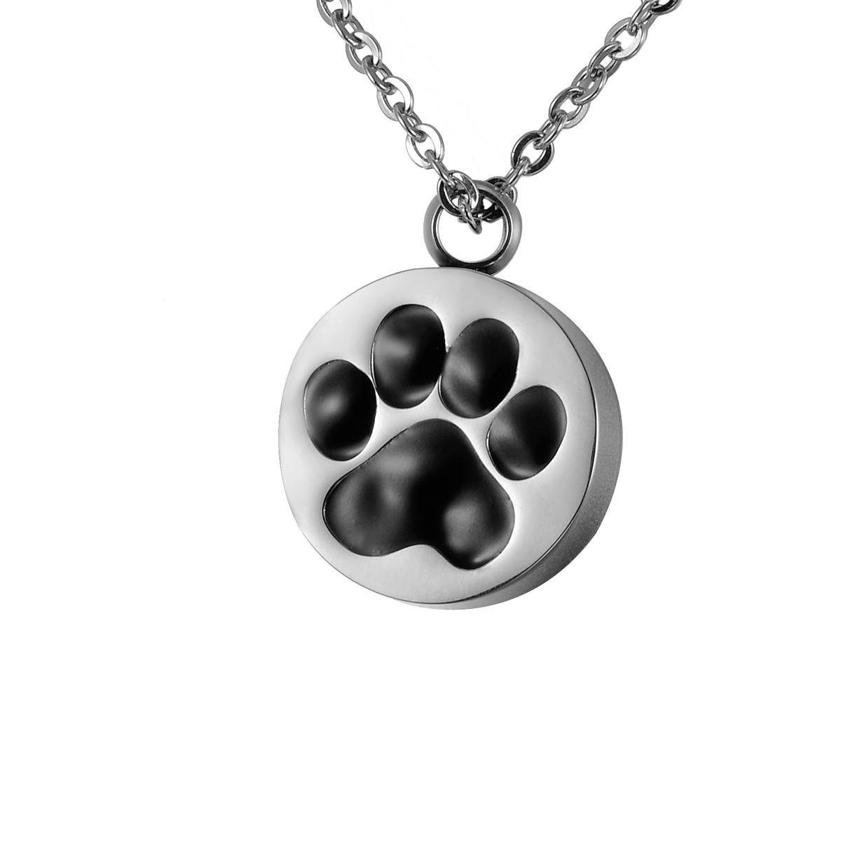 Zambak Paslanmaz Çelik Siyah Tutkal Pet Köpek Paw Yuvarlak Kremasyon Takı Külleri Kolye Keepsake Anıt Urn Kolye Hediye Çanta Ve Zincir ile