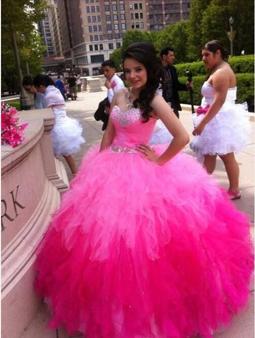 Мода Принцесса Quinceanera Платья Из Бисера Кристалл Pageant Платья Милая Обратно Зашнуровать Бальное Платье Пром Платья 2015 Vestidos Де Феста