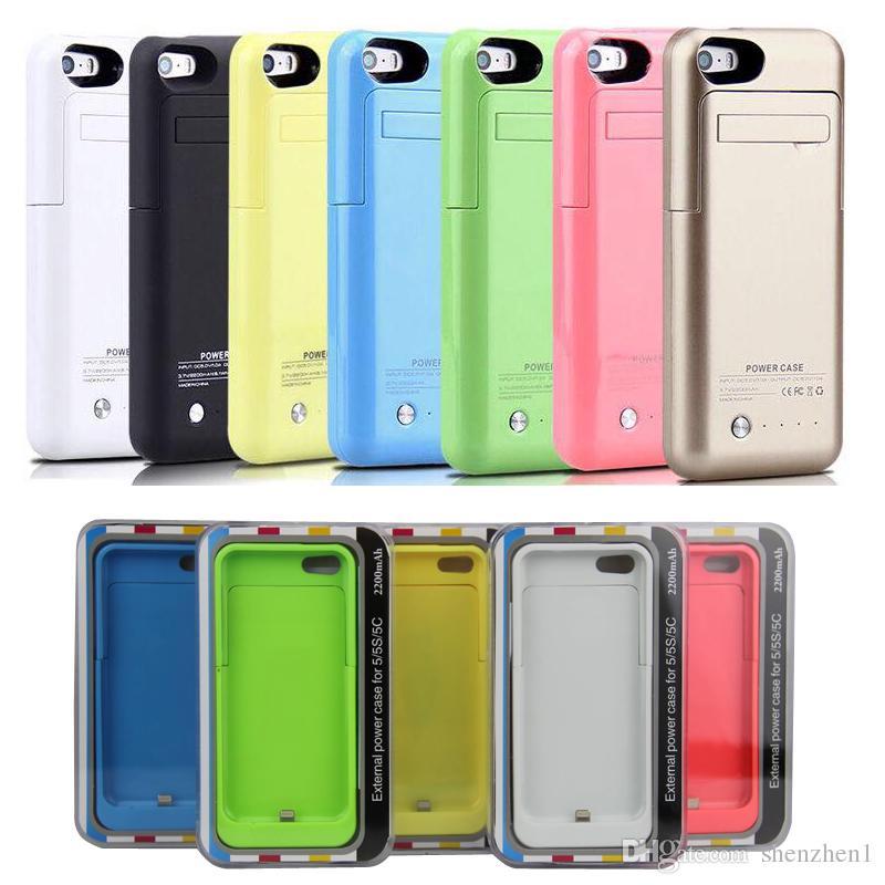 e4ae7cc8a7b Banco de energía recargable 2200 mah caso de energía para iphone 5 5s con  respaldo portátil ...