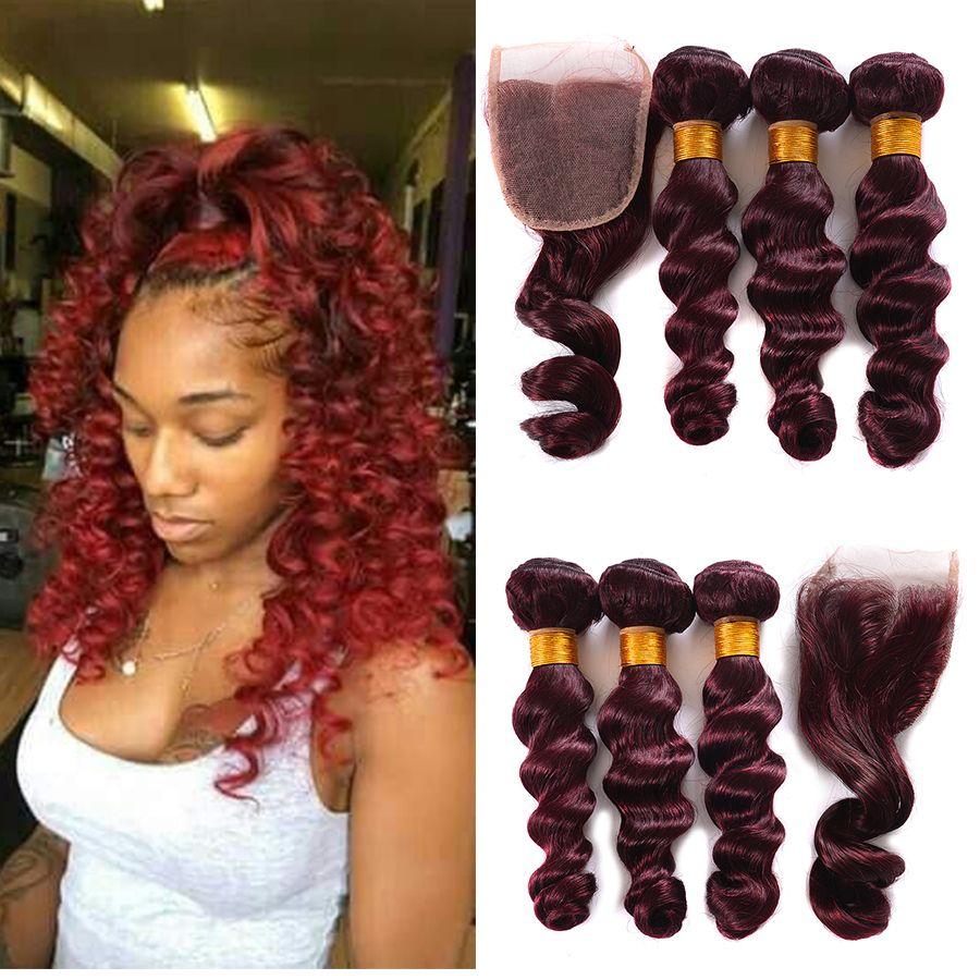 Bourgogne Vague Lâche Cheveux Humains Brésiliens avec 4x4 Closure Vin Rouge Vierge Cheveux Brésiliens Avec Dentelle Fermeture Rouge 3 Bundles Avec Fermeture 99j