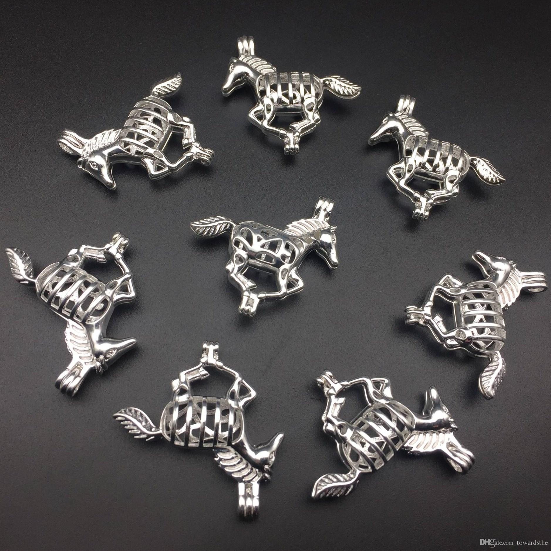 Pearl Cage Halskette Anhänger, ätherisches Öl Diffusor, Pferd versilbert 8 PC, fügen Sie Ihre eigene Perle, um es attraktiver zu machen