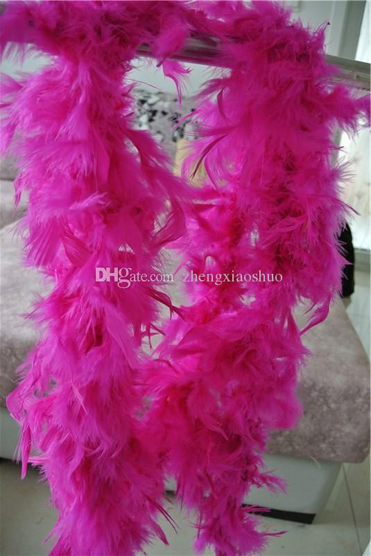 Spedizione gratuita 20 pz 200 cm / pcs hot pink Feather Boas 40 gramme Chandelle Feather Boas Marabou Boa di Piume per costumi festa forniture per cucire