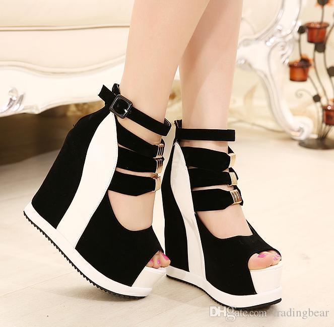 Sandálias Sexy Rebites Fluorescente Rosa Salto Alto confortáveis Sapatos Peep Toe Cunhas