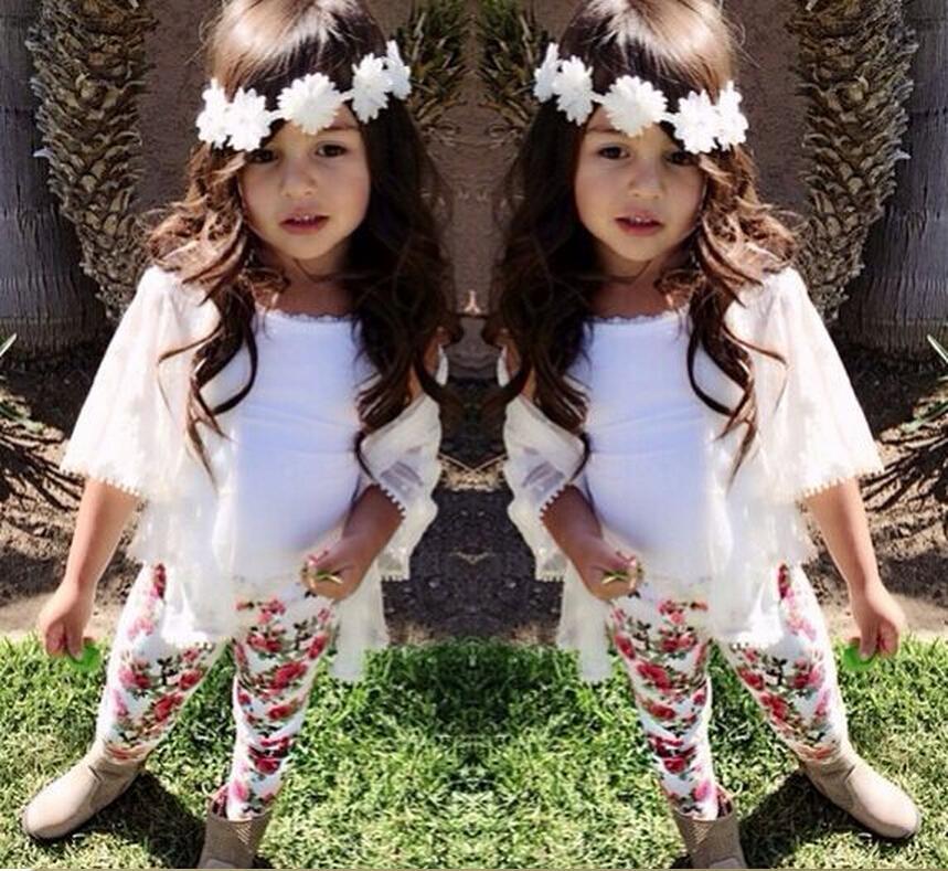 3PCS Toddler Kids Baby Girls Outfit Clothes Lace Cardigan+Vest Shirt+Short Pants