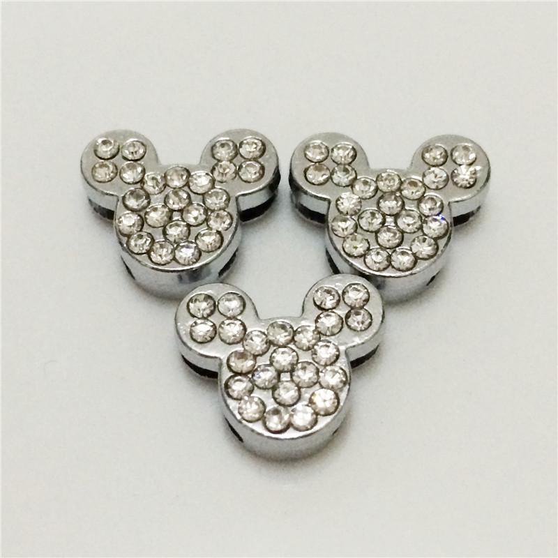 Hot!!20PCS/Lot 8MM mickey Full Rhinestones DIY Slide Charms Silvery DIY Components Fit for 8MM Wristbands Bracelets Belts SC16