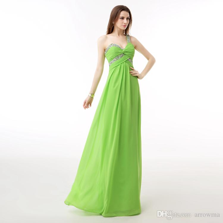 Green Long Prom Dresses A Line Party Evening Gowns One Shoulder ...