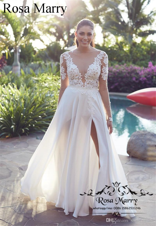 DiscountModest Plus Size Country Beach Wedding Dresses 18 A Line ...