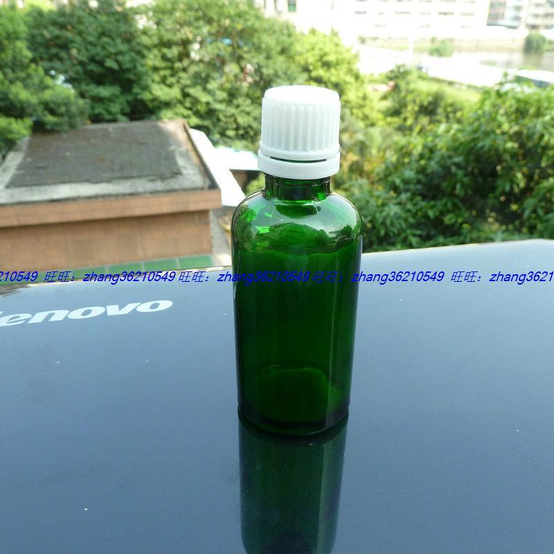 100ml 녹색 유리 에센셜 오일 병 흰색 플라스틱 도난 방지 뚜껑. 오일 바이알, 에센셜 오일 용기