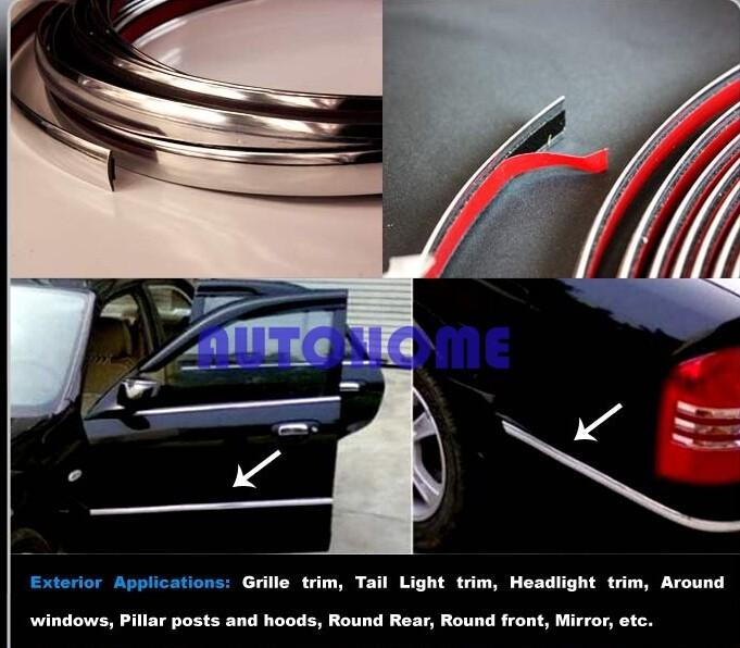 Chrome Moulding Trim Strip Car Interior Exterior Grill Door Window Decorated DIY (2)