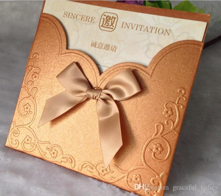 Red Embossed Wedding Invitations Gold Butterfly Printable Inner – Custom Made Invitation Cards